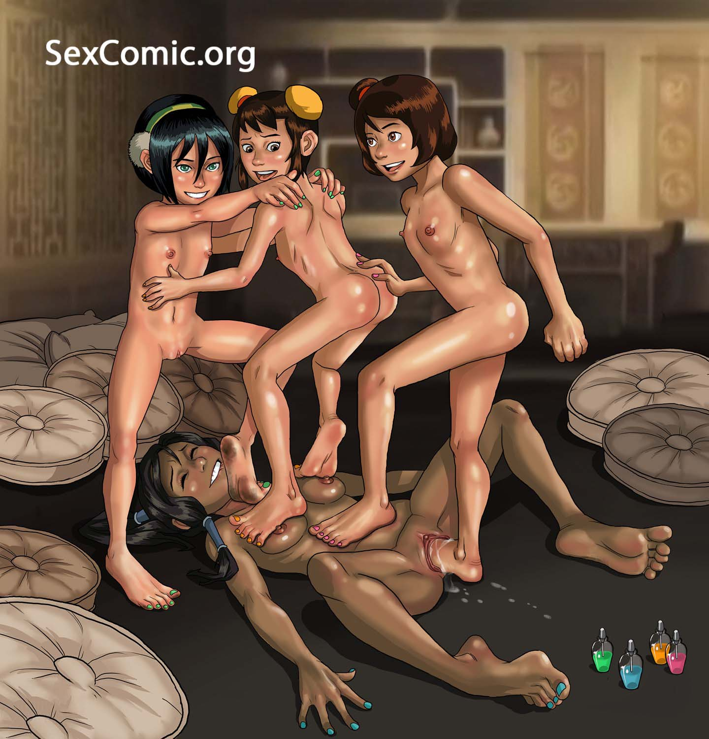 Avatar Korra Follando Orgia Lesbica -Sex Comics Porno-2325